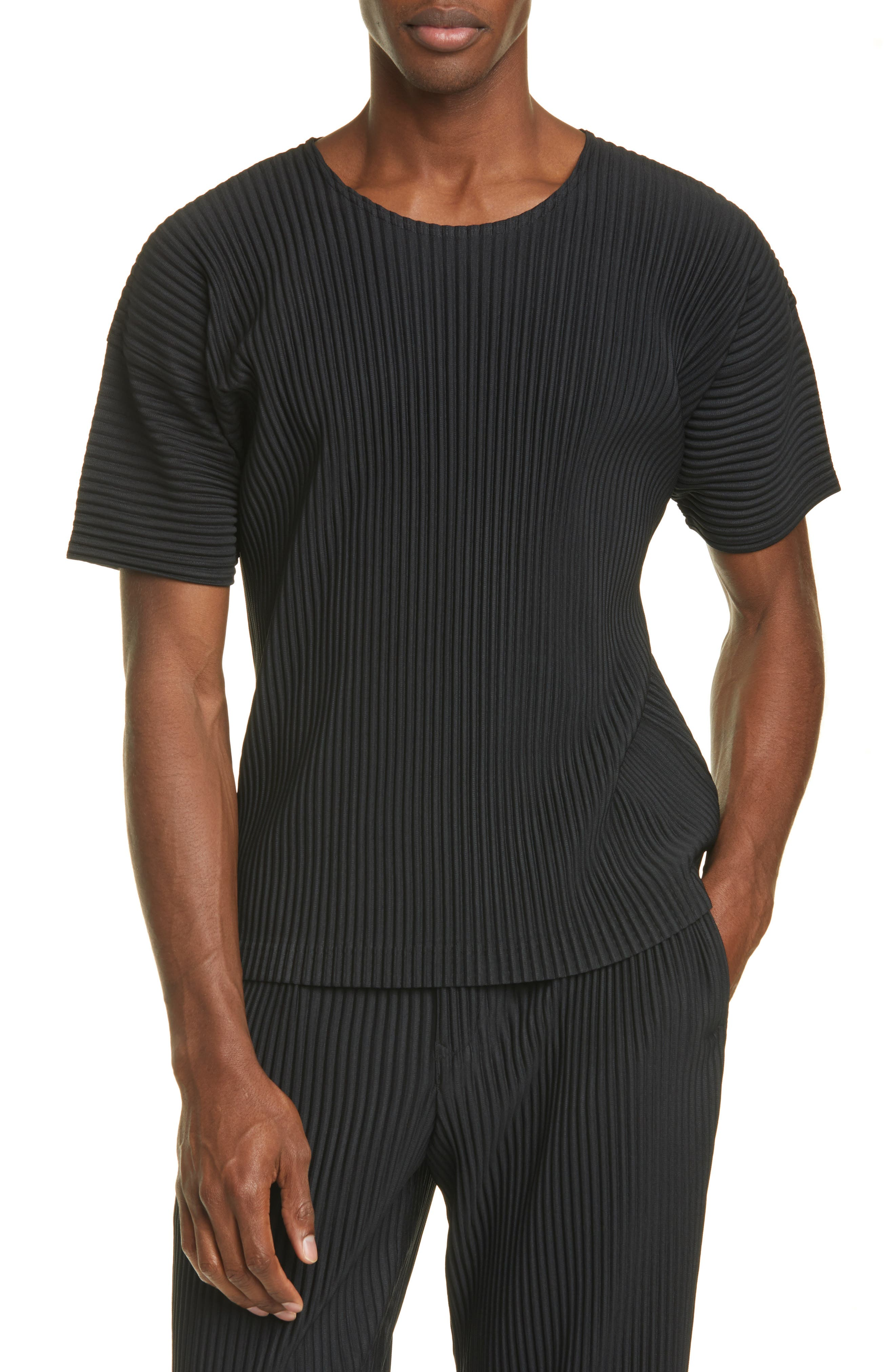 A wrinkle-resistant, quick-drying T-shirt is sewn using Issey Miyake\'s unique pleating technique for a look that\'s both fashion-forward and travel-ready. Style Name: Homme Plisse Issey Miyake Pleated T-Shirt. Style Number: 6006867. Available in stores.