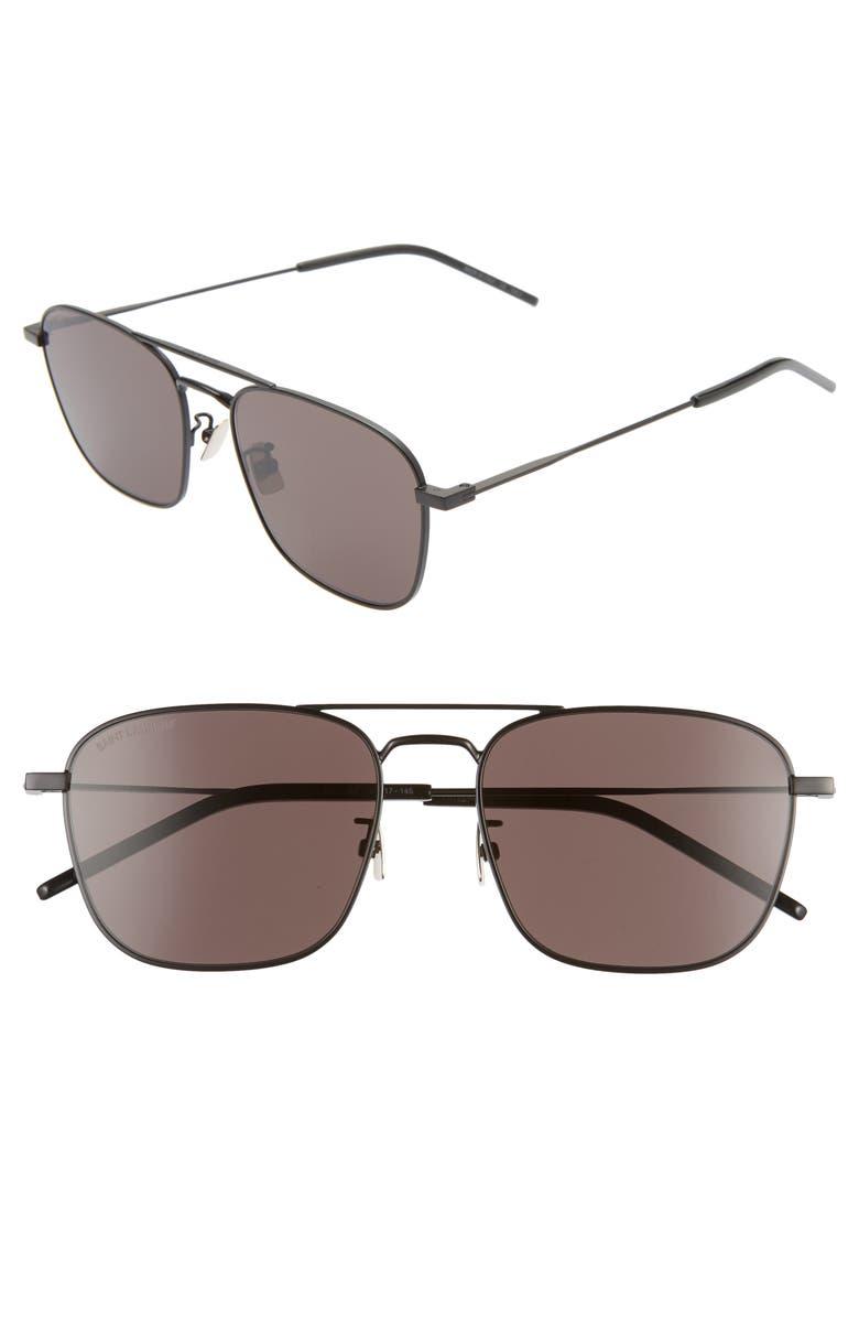 SAINT LAURENT 56mm Aviator Sunglasses, Main, color, BLACK