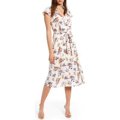 Row A Floral Surplice Midi Dress, Ivory
