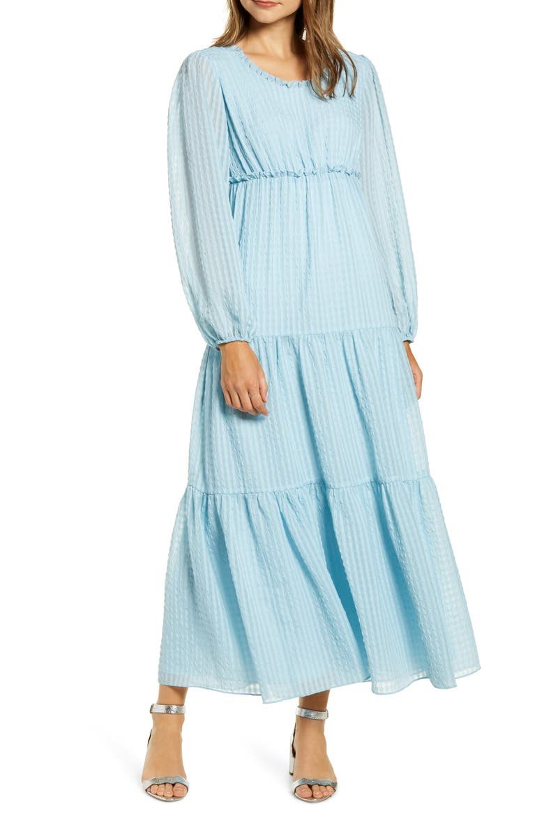 RACHEL PARCELL Tiered Long Sleeve Maxi Dress, Main, color, 450