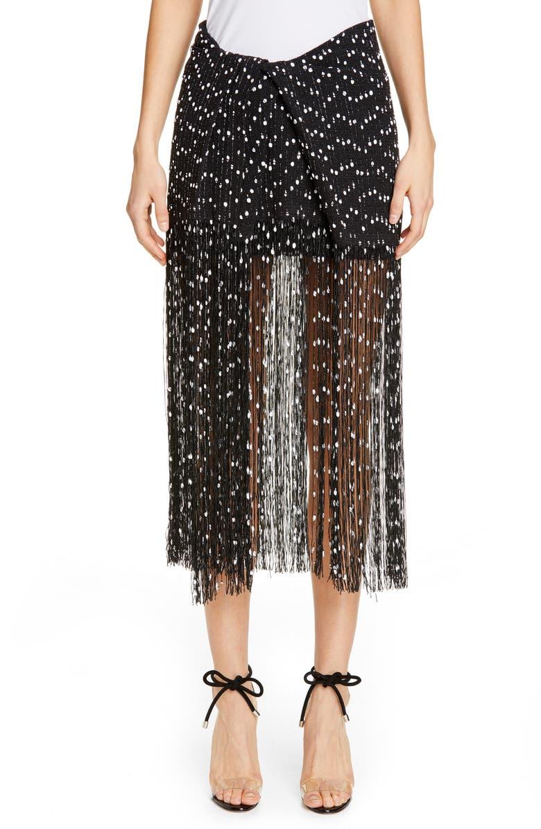 JACQUEMUS La Jupe Capri Fringe Skirt, Main, color, 001