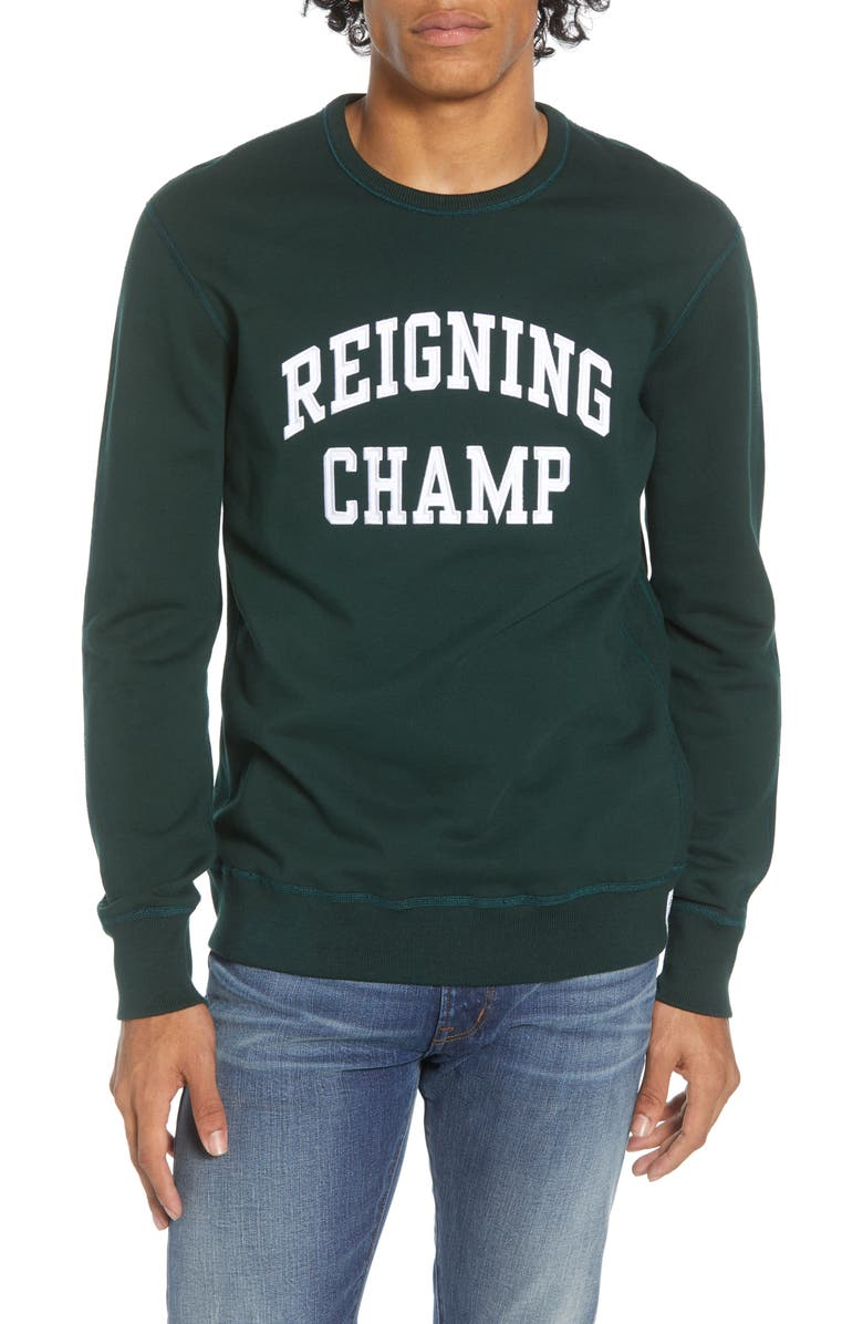 REIGNING CHAMP Varsity French Terry Crewneck Sweatshirt, Main, color, FOREST GREEN