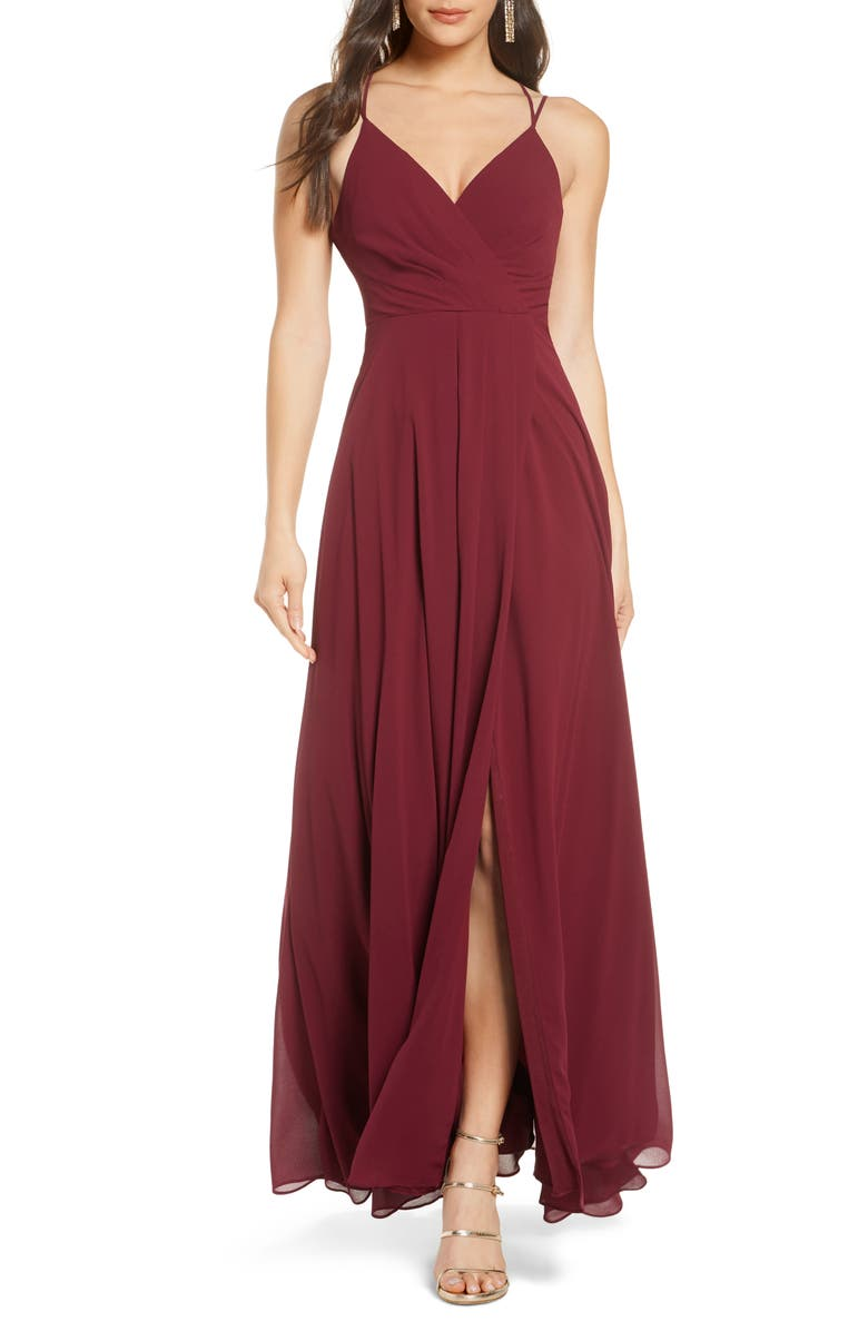 SEQUIN HEARTS Faux Wrap Sleeveless Chiffon Gown, Main, color, 603