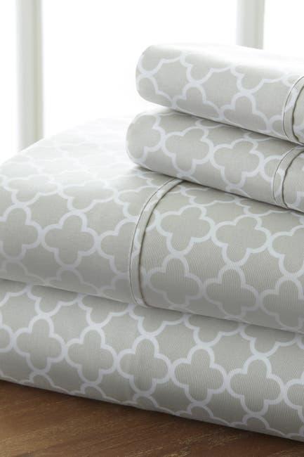 Image of IENJOY HOME The Home Spun Premium Ultra Soft Quatrefoil Pattern 4-Piece Queen Bed Sheet Set - Gray