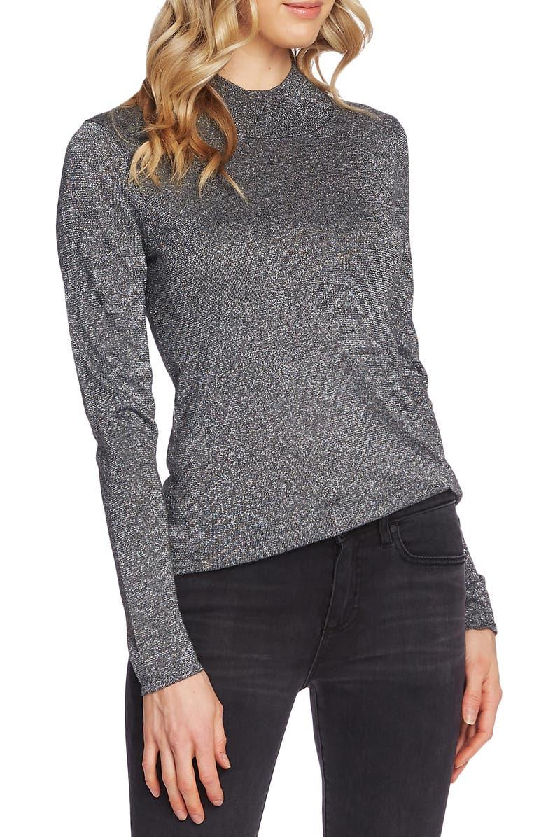 VINCE CAMUTO Metallic Mock Neck Sweater, Main, color, 023