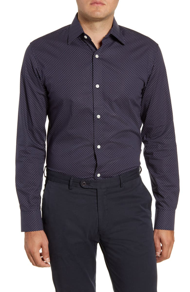 BONOBOS Slim Fit Stretch Geo Print Dress Shirt, Main, color, 400