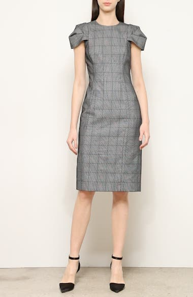 Lace Overlay Glen Plaid Sheath Dress, video thumbnail