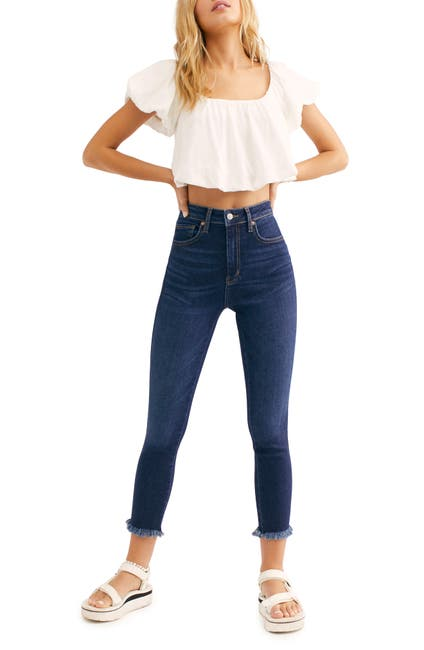 Image of Free People Frayed Ankle Crop Skinny Jeans