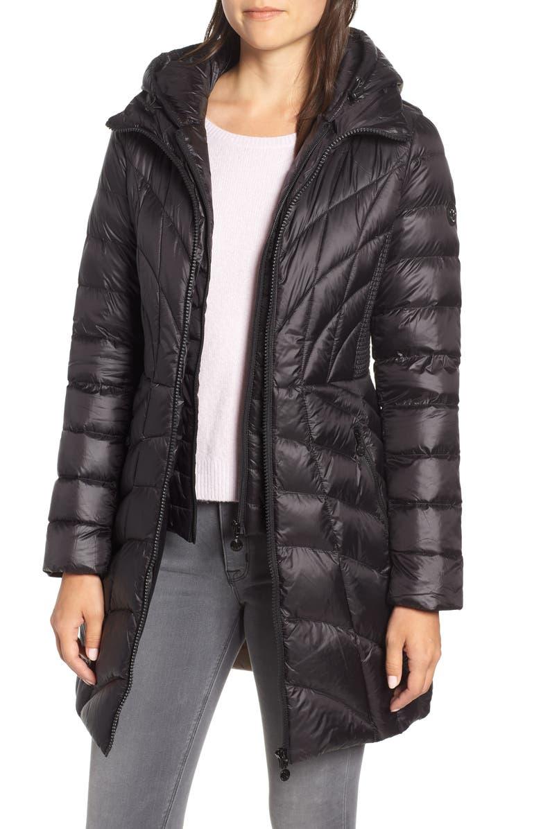 BERNARDO Glossy Quilted Walker Coat, Main, color, BLACK