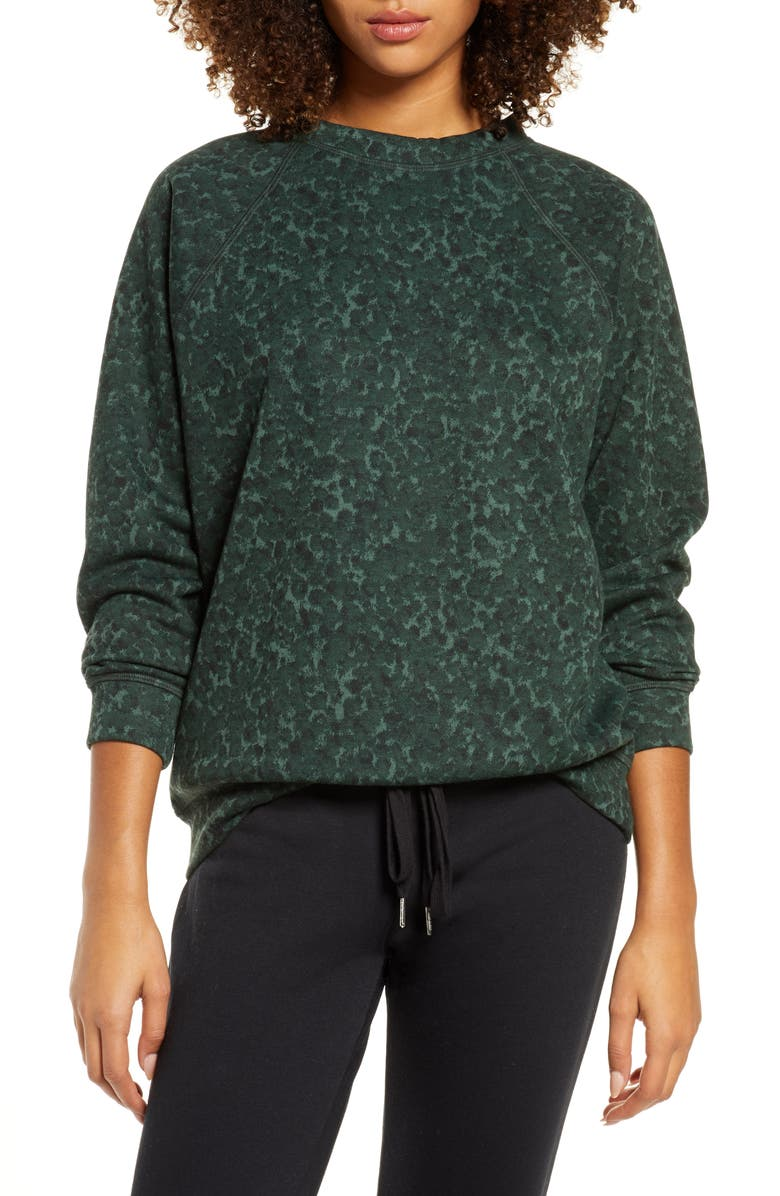 SOCIALITE Cozy Sweatshirt, Main, color, EVERGREEN LEOPARD