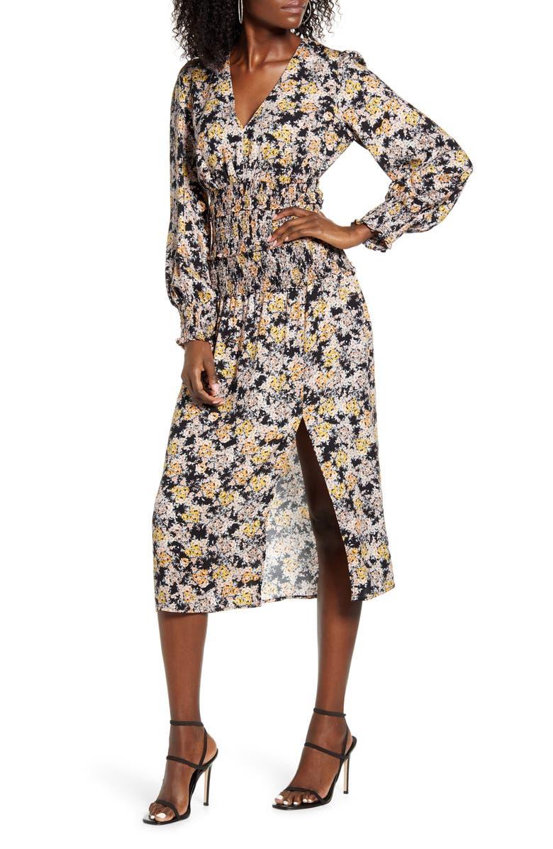 AFRM Hazel Floral Smocked Long Sleeve Midi Dress, Main, color, 001