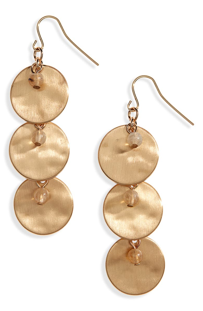 BP. Stone Bead & Disc Linear Earrings, Main, color, NATURAL- GOLD