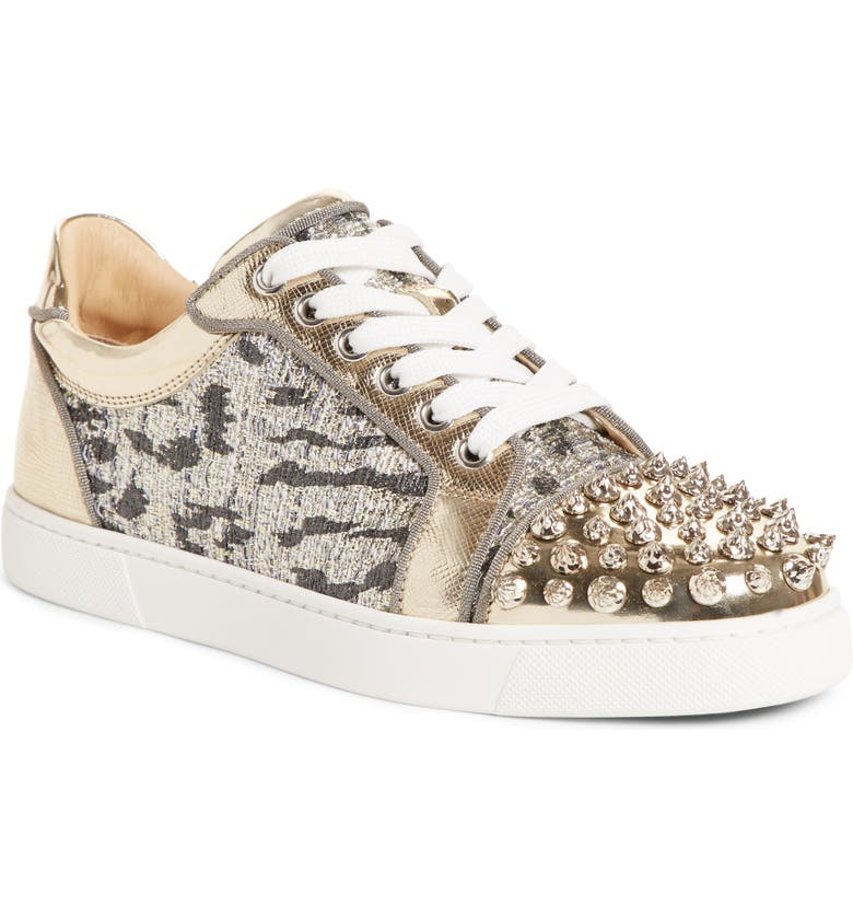 CHRISTIAN LOUBOUTIN Vieira Spike Stud Low-Top Sneaker, Main, color, 041