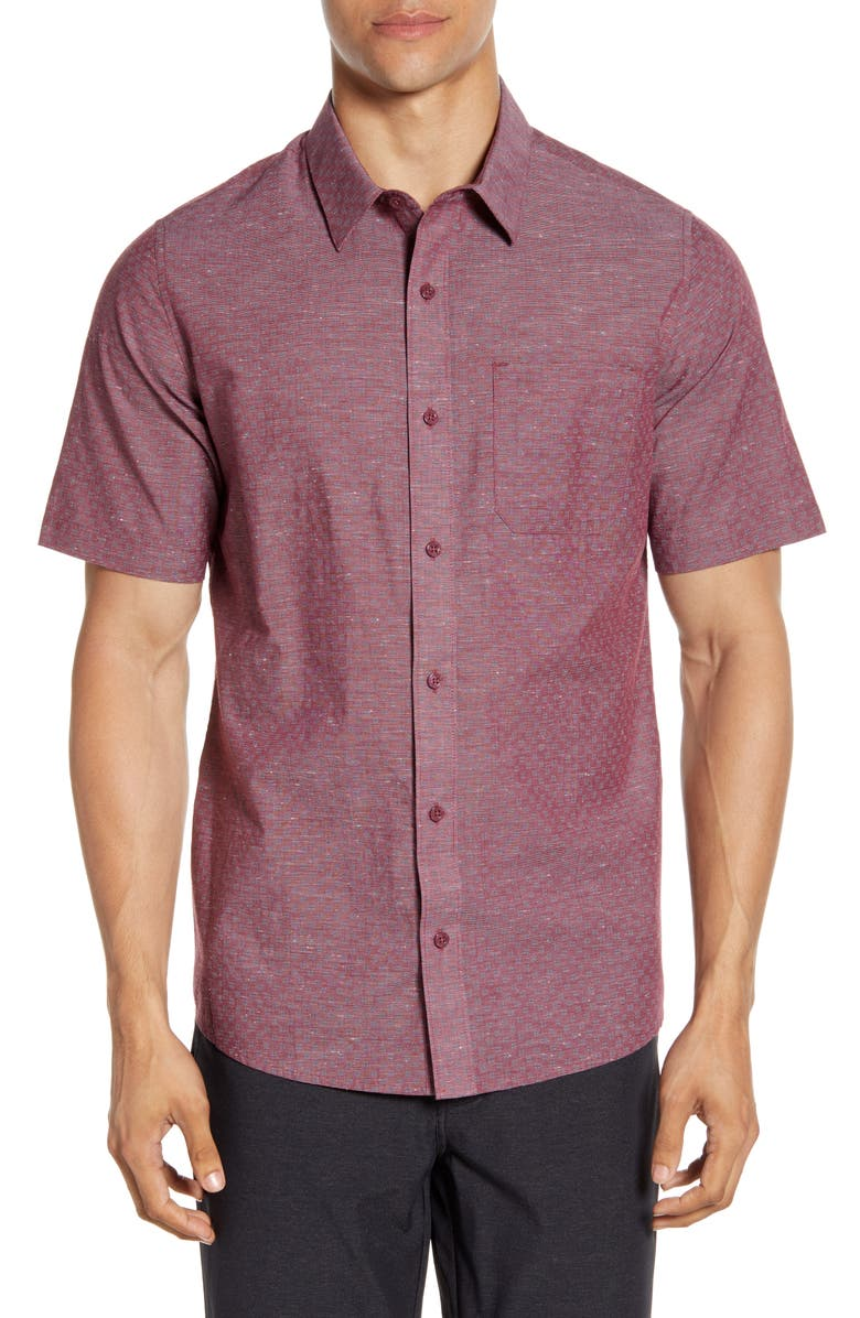TRAVISMATHEW Oswego Regular Fit Geo Print Short Sleeve Button-Up Sport Shirt, Main, color, HEATHER TAWNY PORT