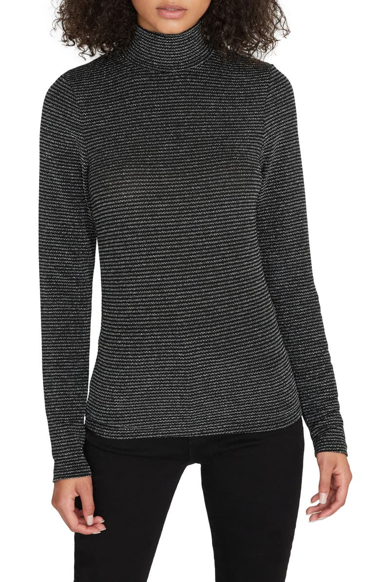 SANCTUARY Essential Metallic Stripe Turtleneck, Main, color, SILVER/ BLACK STRIPE