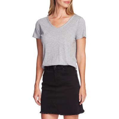 Vince Camuto Stud Detail Cotton Blend Tee, Grey