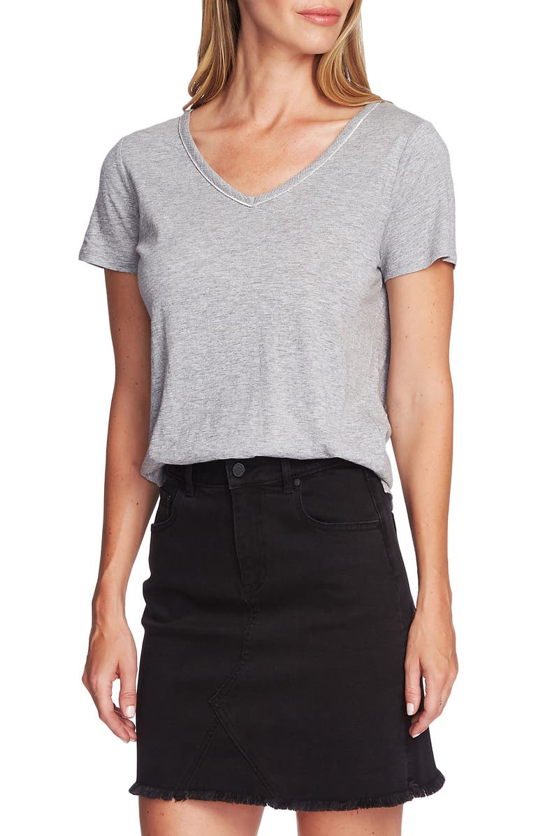 VINCE CAMUTO Stud Detail Cotton Blend Tee, Main, color, SILVER HEATHER