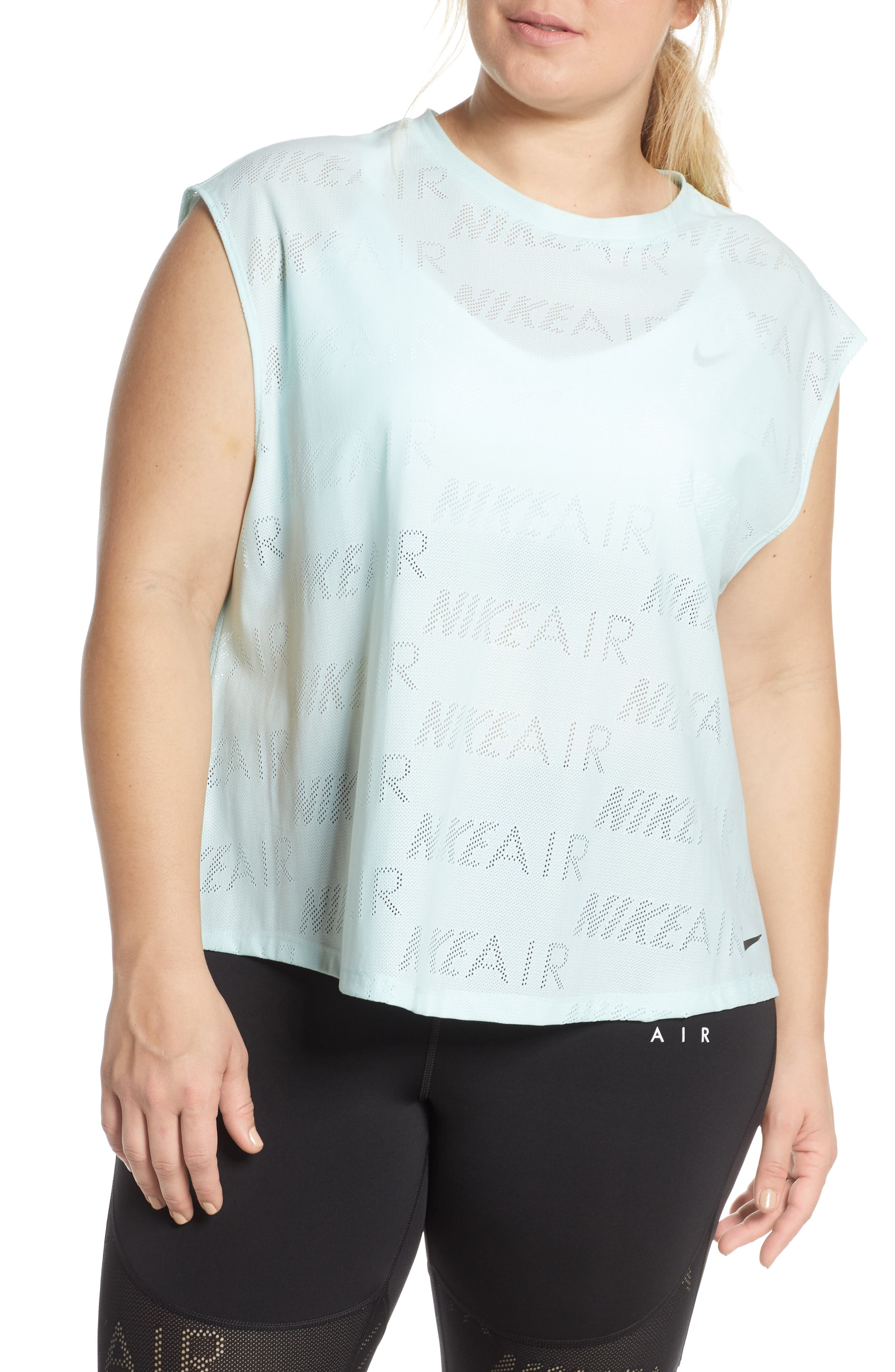 Plus Size Nike Air Perforated Top, Green