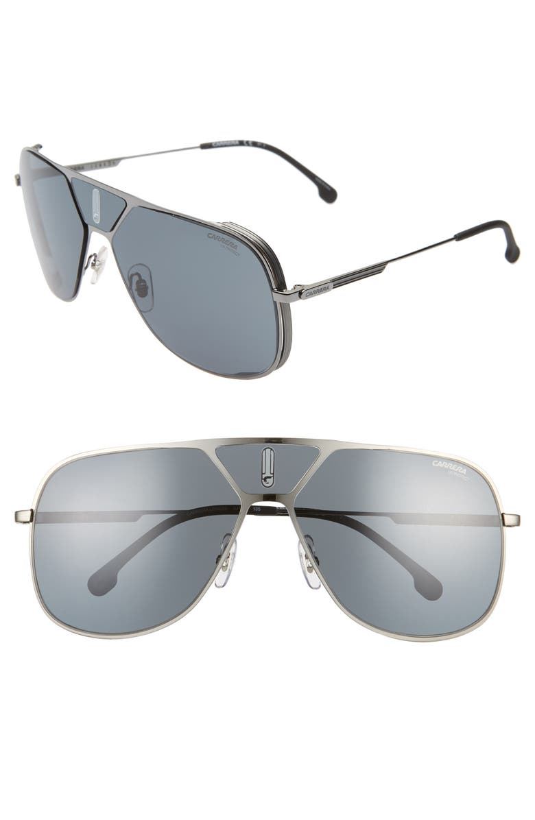 CARRERA EYEWEAR 60mm Navigator Sunglasses, Main, color, DARK RUTHENIUM/ GRAY
