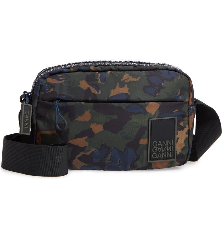 GANNI Tech Camo Crossbody Bag, Main, color, 300