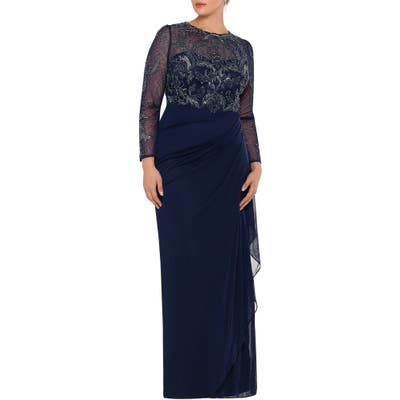 Plus Size Xscape Long Sleeve Ruched Beaded Gown, Blue