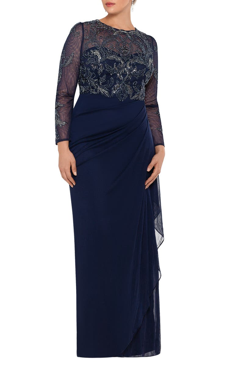 XSCAPE Long Sleeve Ruched Beaded Gown, Main, color, NAVY