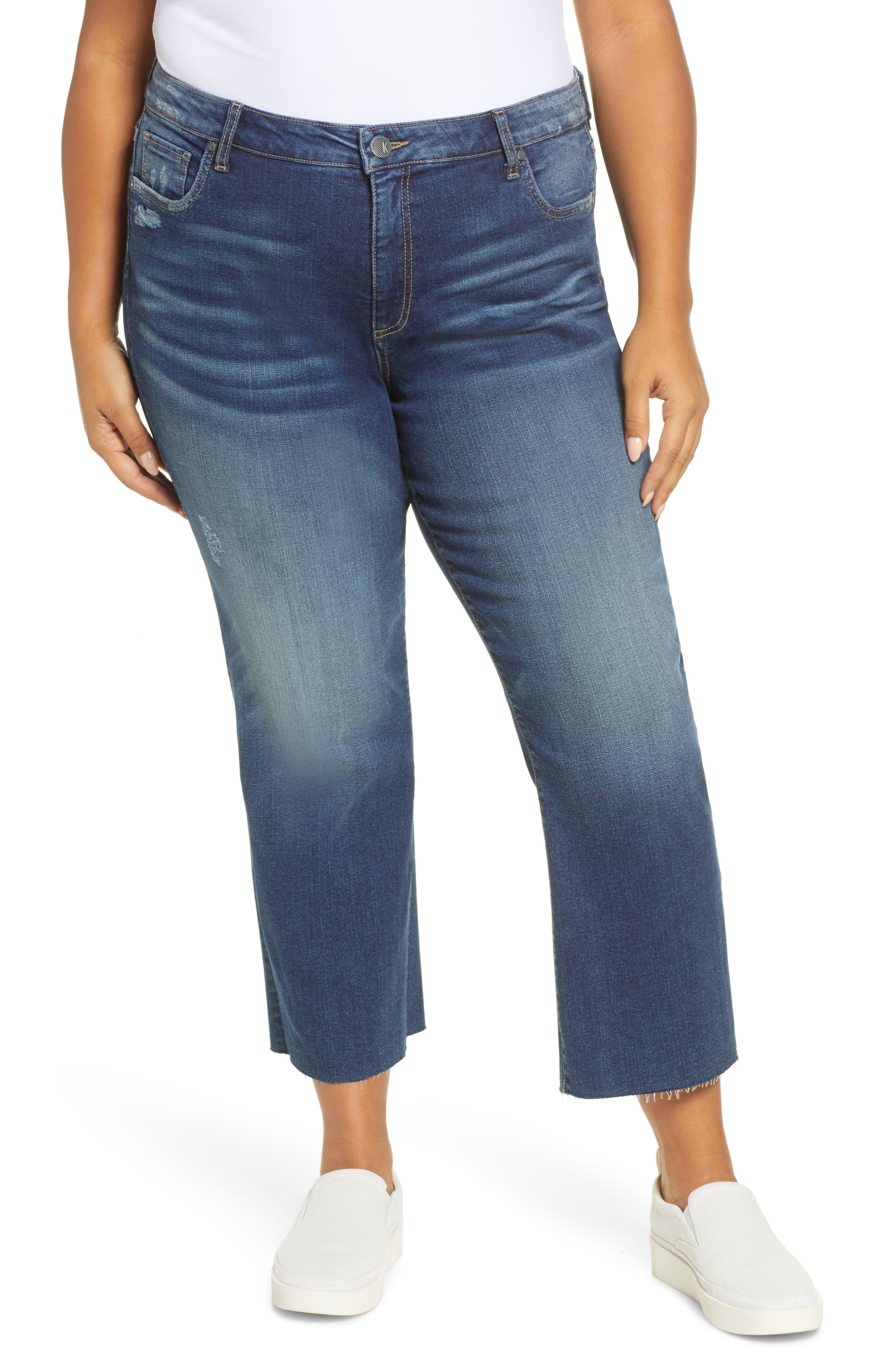 KUT from the Kloth Kelsey High Waist Raw Hem Crop Kick Flare Jeans (Boss) (Plus Size)