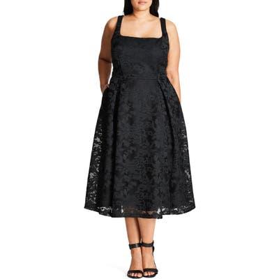 Plus Size City Chic Jackie O Lace Fit & Flare Dress, Black