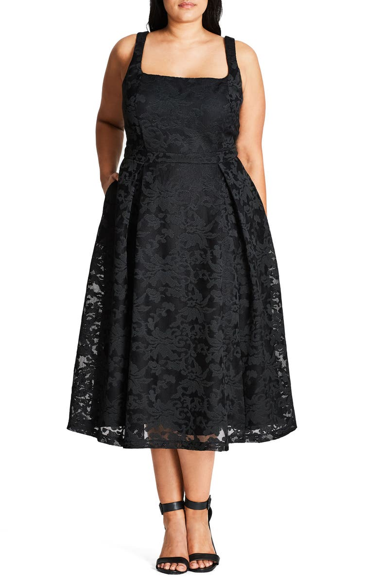CITY CHIC Jackie O Lace Fit & Flare Dress, Main, color, BLACK