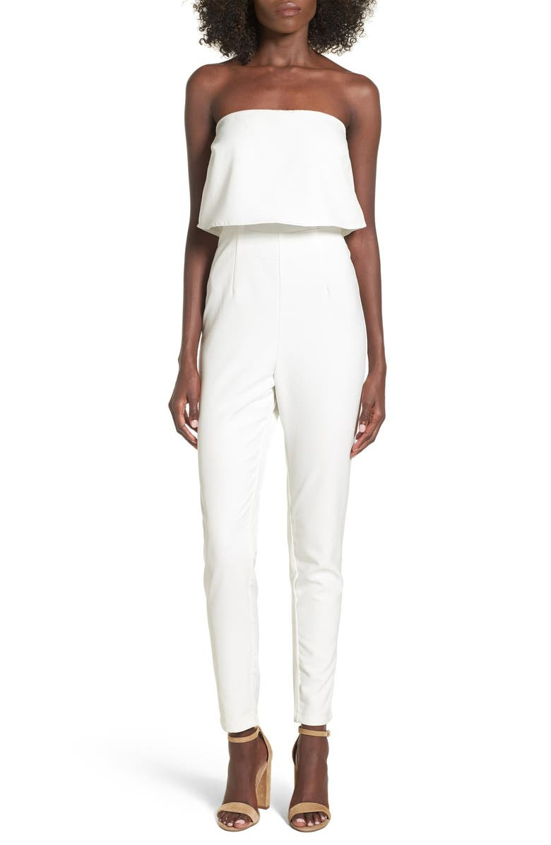 MISSGUIDED Strapless Popover Jumpsuit, Main, color, 100