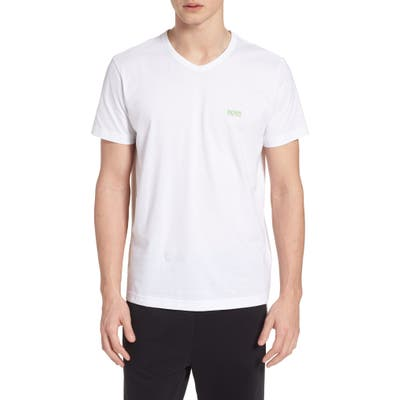 Boss Teevn Regular Fit V-Neck T-Shirt, White