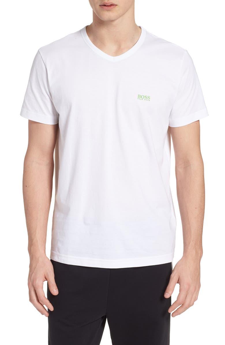 BOSS Teevn Regular Fit V-Neck T-Shirt, Main, color, WHITE