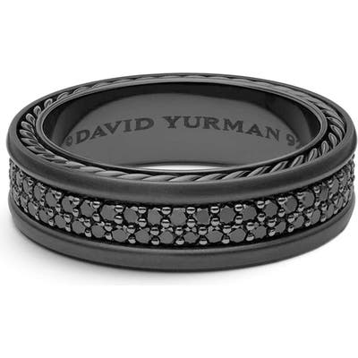 David Yurman Streamline Two-Row Pave Band Ring With Black Diamonds And Black Titanium