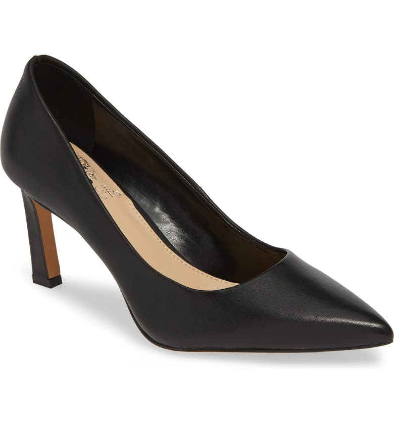 VINCE CAMUTO Retsie Pointed Toe Pump, Main, color, BLACK NAPPA LEATHER