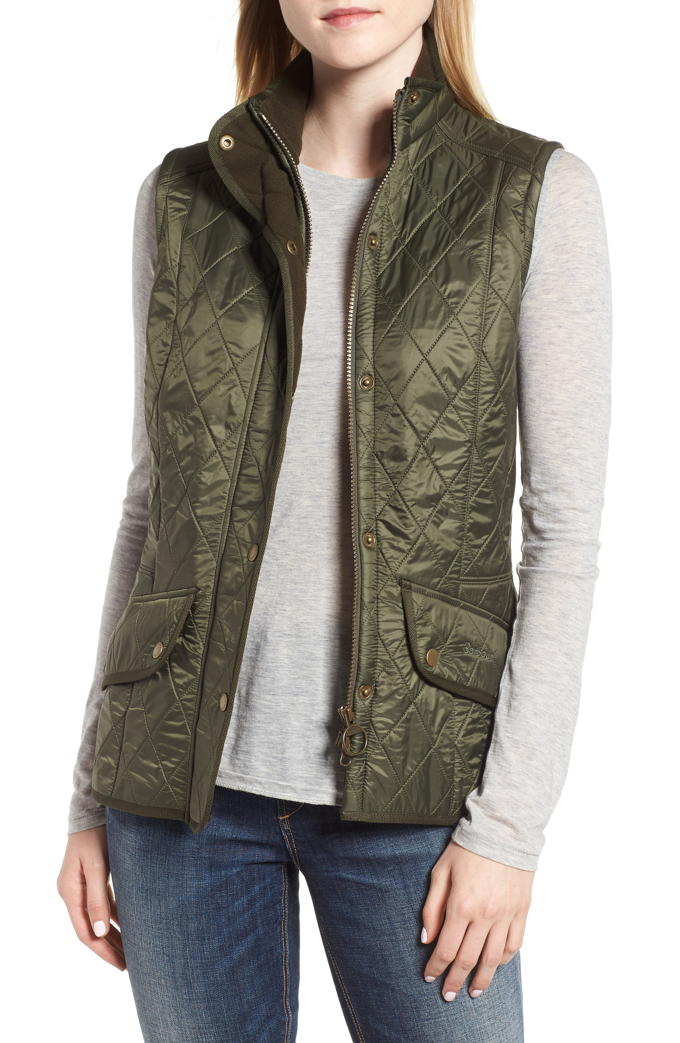 'Cavalry' Quilted Vest, Main, color, OLIVE/ OLIVE