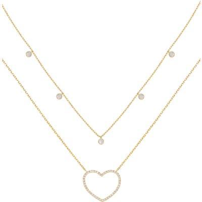 Ettika Dainty Heart Set Of 2 Pendant Necklaces