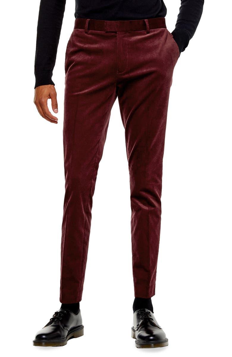 TOPMAN A-List Skinny Fit Velveteen Trousers, Main, color, BURGUNDY