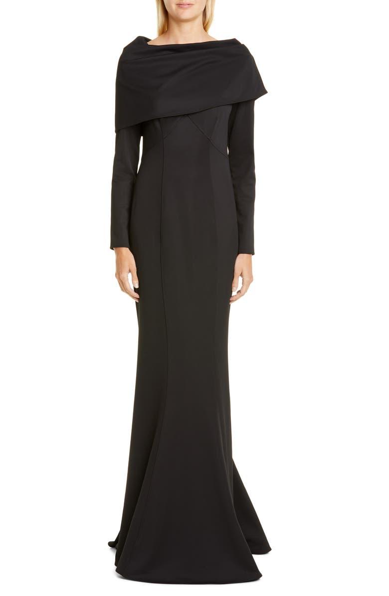 ZAC ZAC POSEN Tali Long Sleeve Gown, Main, color, BLACK