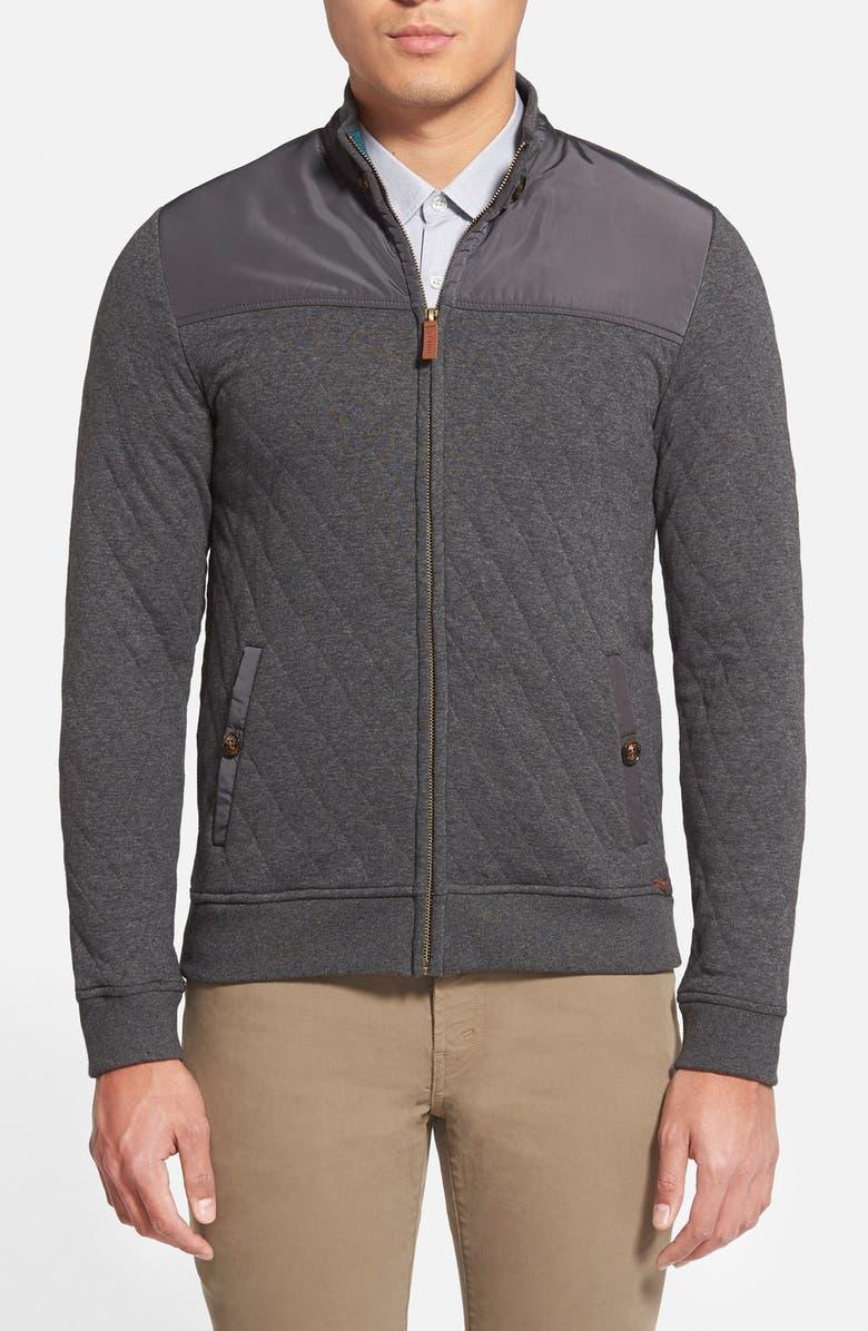 TED BAKER LONDON 'Kartel' Quilted Full Zip Sweatshirt, Main, color, 010