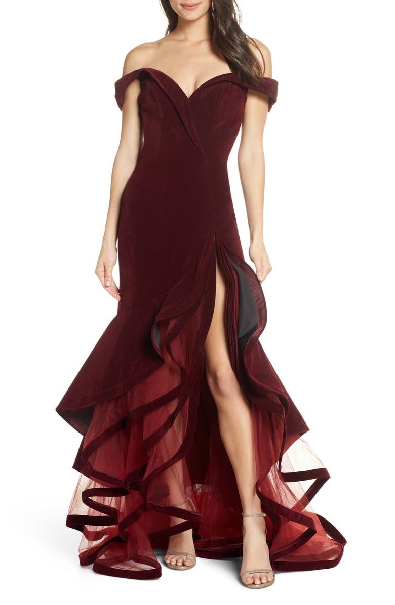 MAC DUGGAL Off the Shoulder Tiered Ballgown, Main, color, BURGUNDY