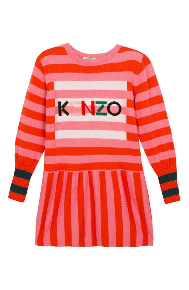 KENZO Stripe Logo Cotton & Wool Knit Dress, Main, color, 697