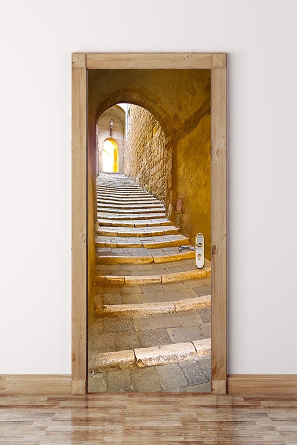 Image of WalPlus Stone Stairway Door Mural Sticker