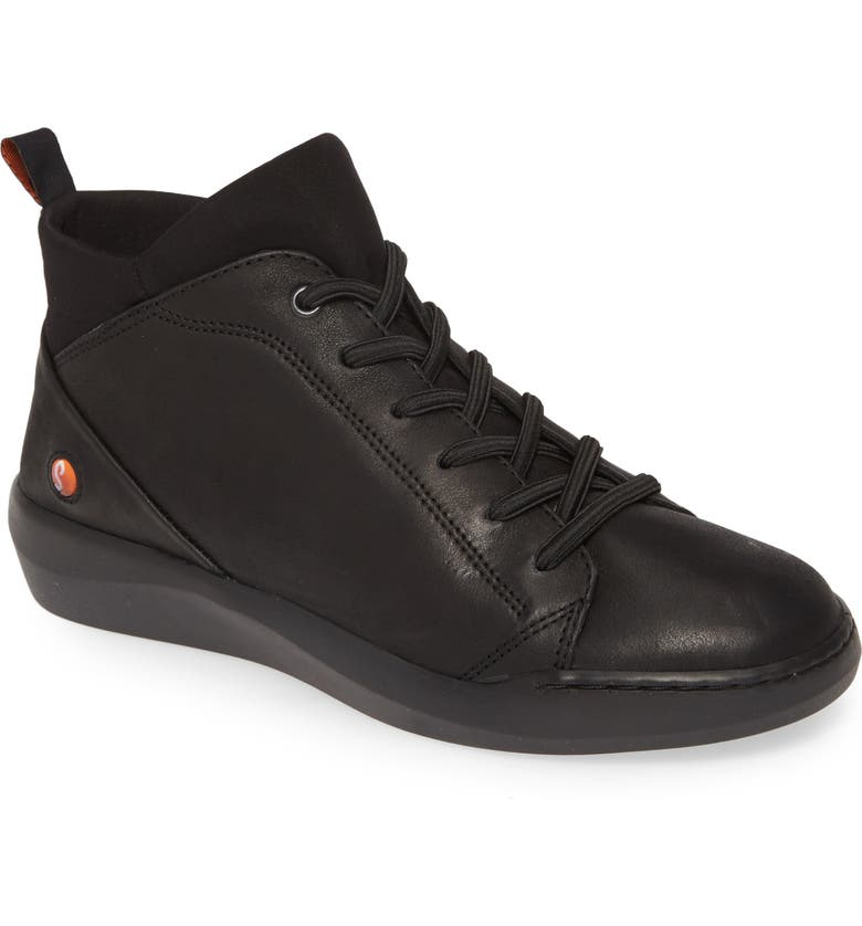 SOFTINOS BY FLY LONDON Biel Sneaker, Main, color, BLACK LEATHER