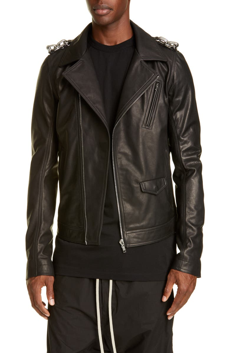 RICK OWENS Giacca in Pelle Stooges Leather Biker Jacket, Main, color, BLACK