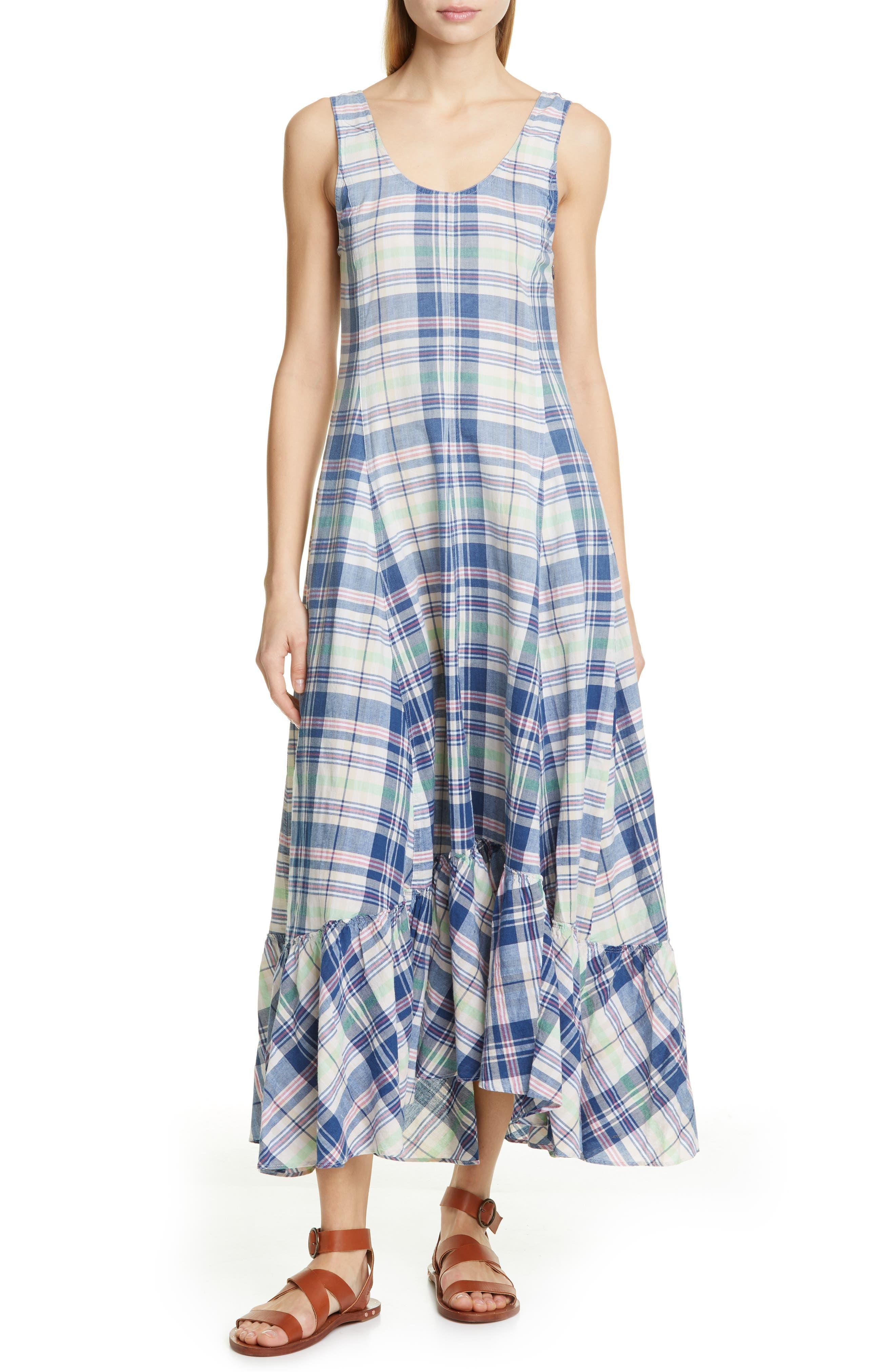 Polo Ralph Lauren Madras Plaid Cotton Maxi Dress, Blue