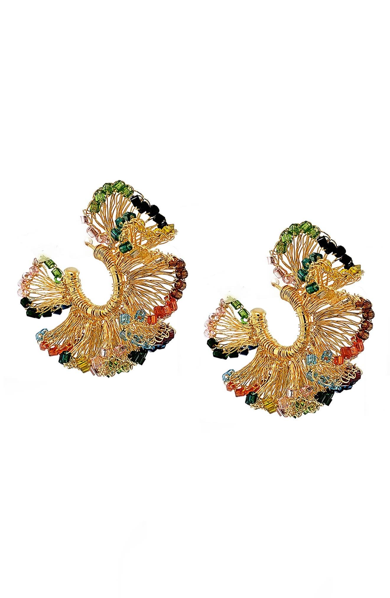 Beaded Ruffle Hoop Earrings