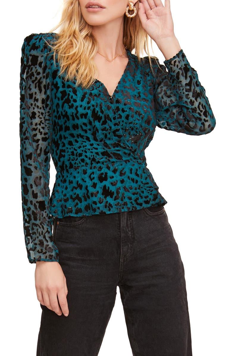 ASTR THE LABEL Leopard Burnout Wrap Top, Main, color, TEAL/ BLACK LEOPARD