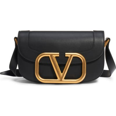 Valentino Garavani V-Logo Leather Shoulder Bag - Black