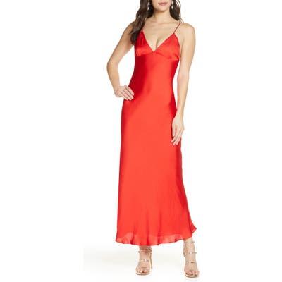 Bardot Jassie Satin Maxi Slipdress, Red