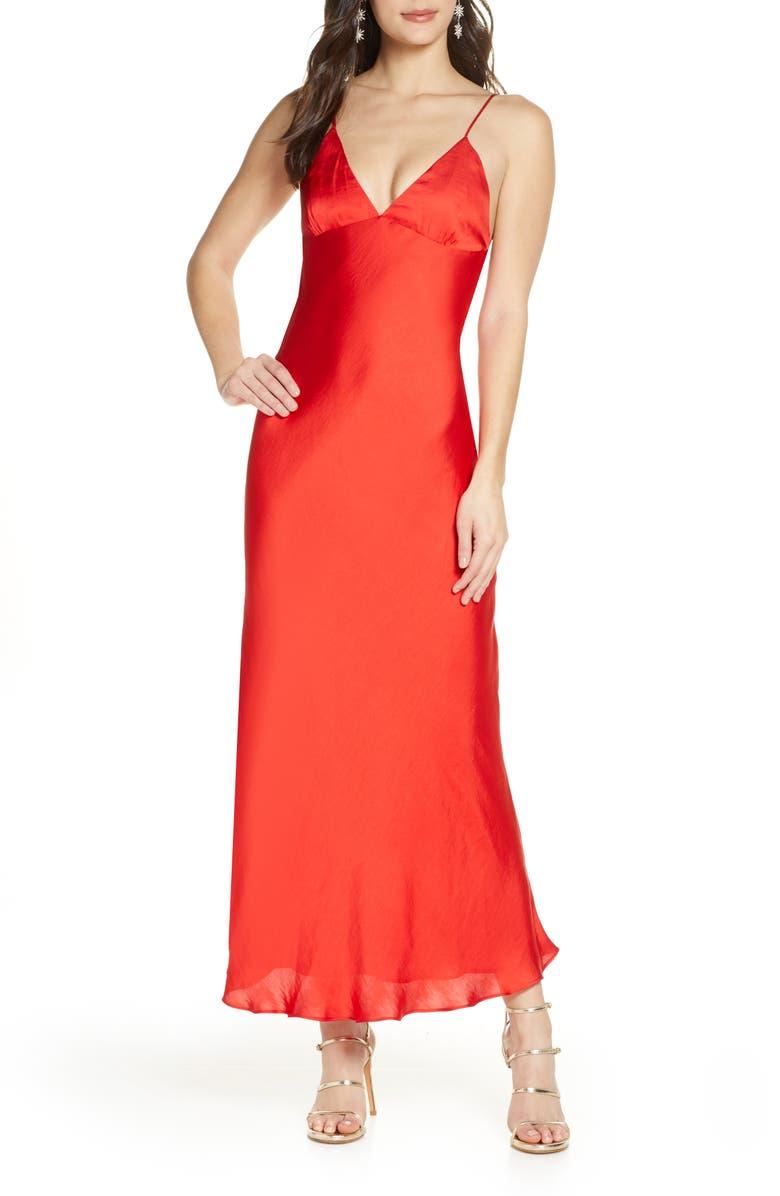 BARDOT Jassie Satin Maxi Slipdress, Main, color, FIRE RED